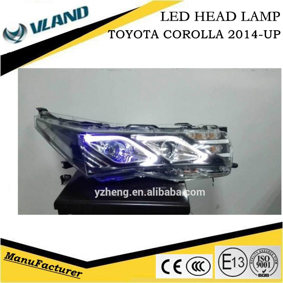 Auto Accessories Toyota Corolla led car headlamp 2014 WithBenz Style design bi xenon projector lens