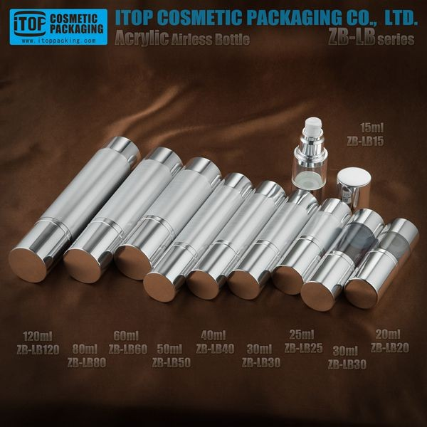 aluminum finish 15ml-120 ml plastic bottle 100ml silver eye cream bottle airless bottle natural cosmetic