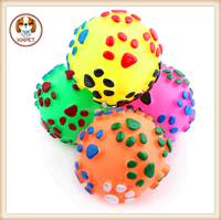 Pet Dog Voice Sound Ball Toy Feeding Food Ball Footprints Ball