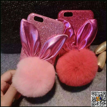 Cell phone case wholesale Bunny Rabbit ears & plush ball PC case for iphone 6