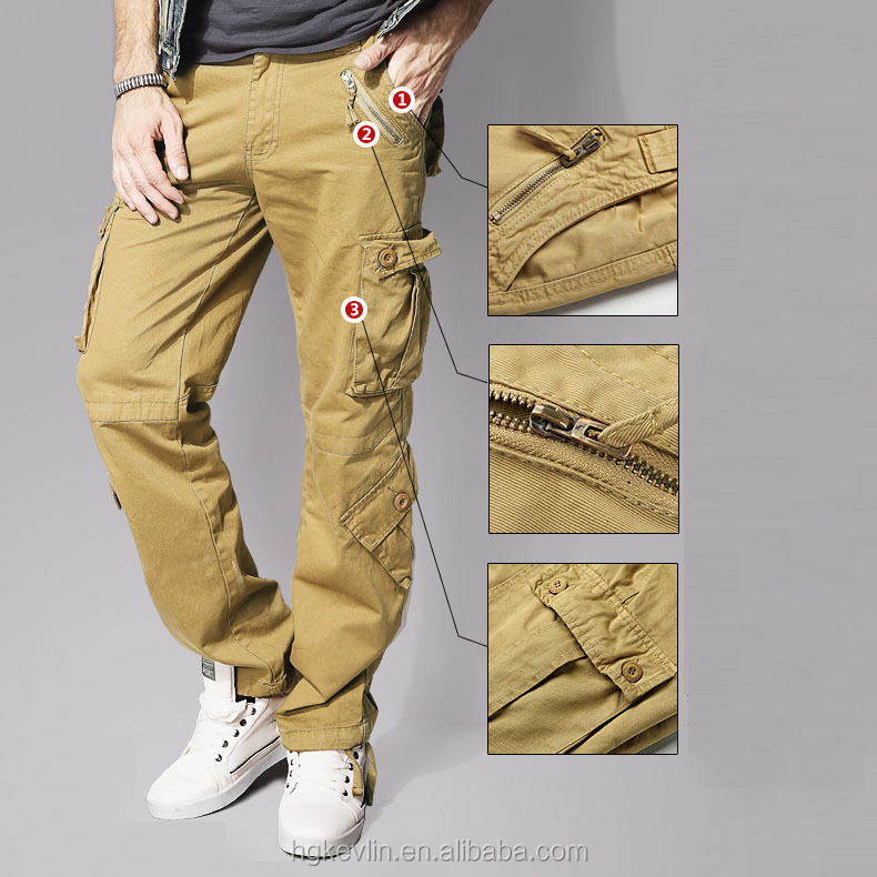 Wholesale cheap men 6 side pockets military style cargo six pocket pants