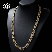 Professional necklace factory welcome custom zircon new fashion simple design 14K 18K gold plated Hip Hop chain for men