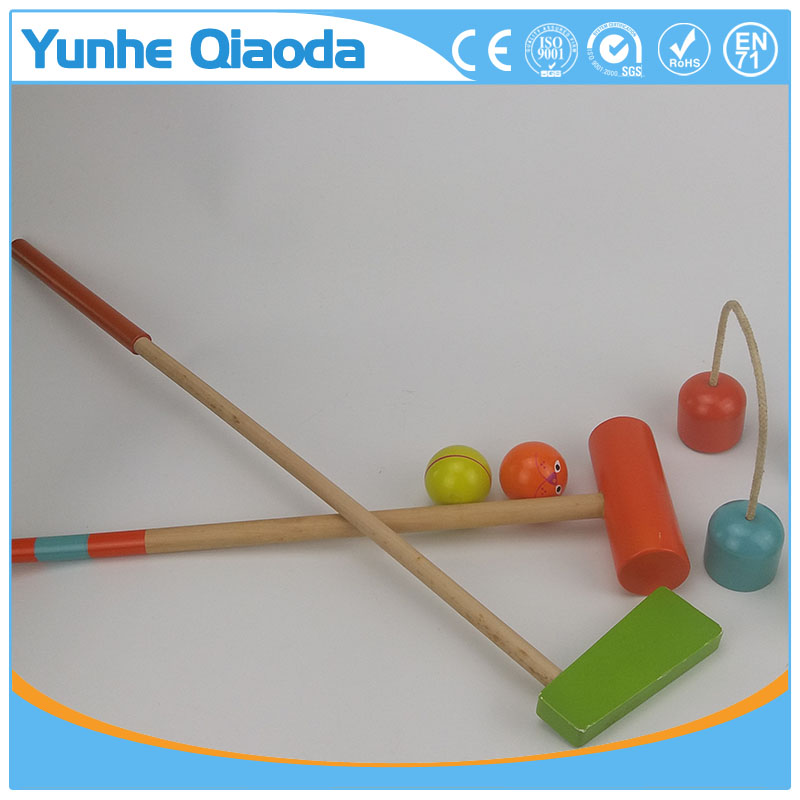 2 Doorways Cartoon Animal Croquet Toy Game Wooden Golf Toys Funny Outdoor Family Educational Games for Kids