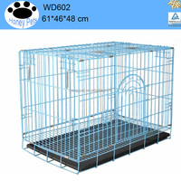 "1 Door Black/Blue 24"" Folding dog cage pet cage"