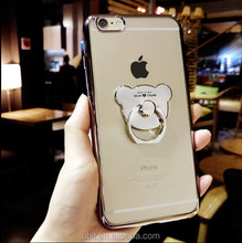 Electroplate TPU Bear Ring Finger Loop Kickstand Smart Case Cover 2017 Phone Holder For Meizu M3 Note for iphone for samsung