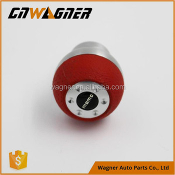 Universal Red Silver Steel Leather Car Gear Shift Knobs