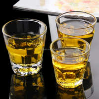 2015 Best selling high quality glass drinking glass cup 100ml, Octagon cup/Royalex glass cup, tempered whisky glass