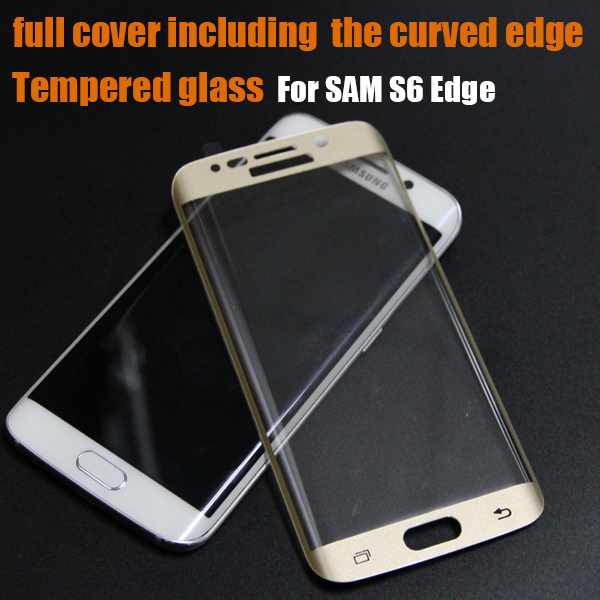 clear gold tempered glass screen protector for Samsung Galaxy S6 Edge S7 edge full cover