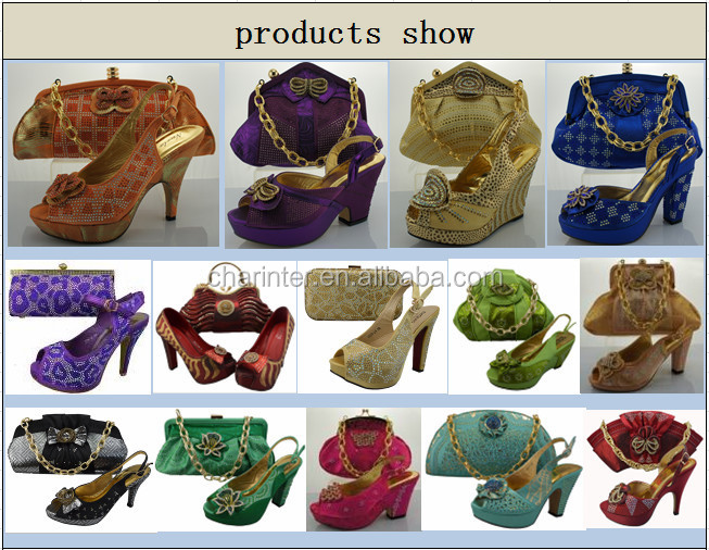 italian shoes and bag set/ladies shoes/shoes and bags SB160101-4 gold color