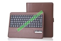 High Quality bluetooth keyboard case for new ipad and iPad2 With 450mAh Mobile Power And PU Leather Case with Trapezoid Stand