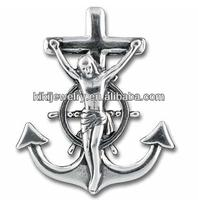 Fashion Metal Antique Silver Plated Statue Of Jesus Crucifix Anchor Charm