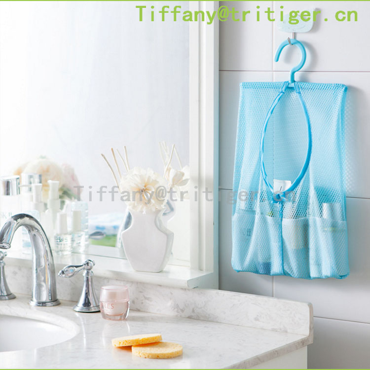 Bathroom Toy Tidy Storage Suction Cup Bag Mesh Net Bathroom Organizer Hanging pockets organizer