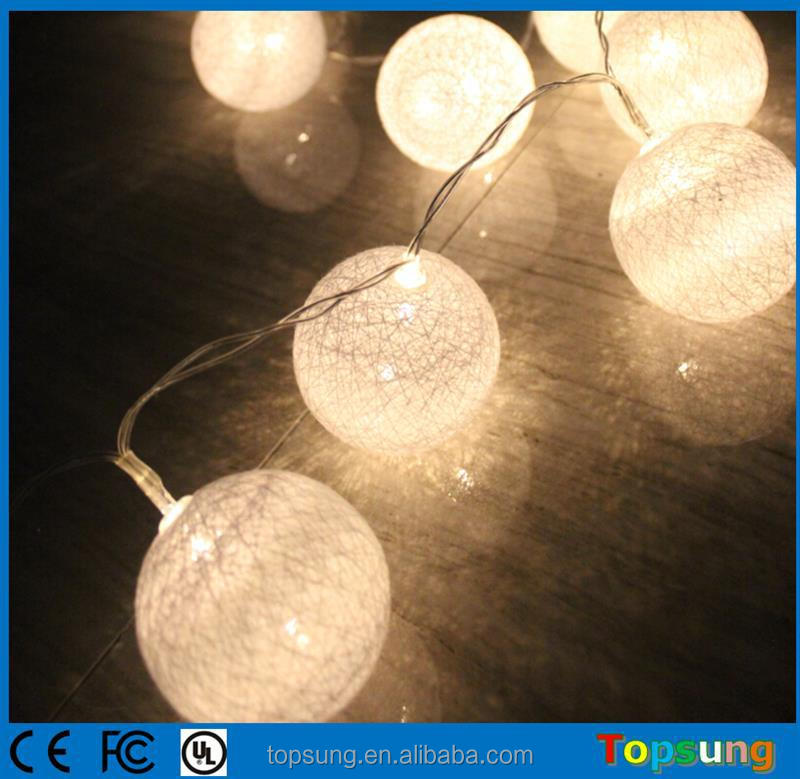 hot sale led cotton light balls solar christmas decoration for home 20 bulbs