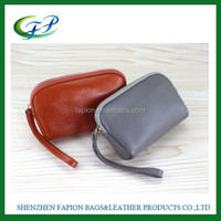 leather mobile phone carry bag with zipper coin pocket