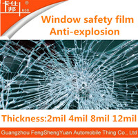 China factory good quality 4,8,12mil safety film, explosion proof film window protection