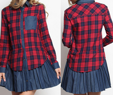 online shopping china clothes latest girl's dress designs plaid mini shirtdress