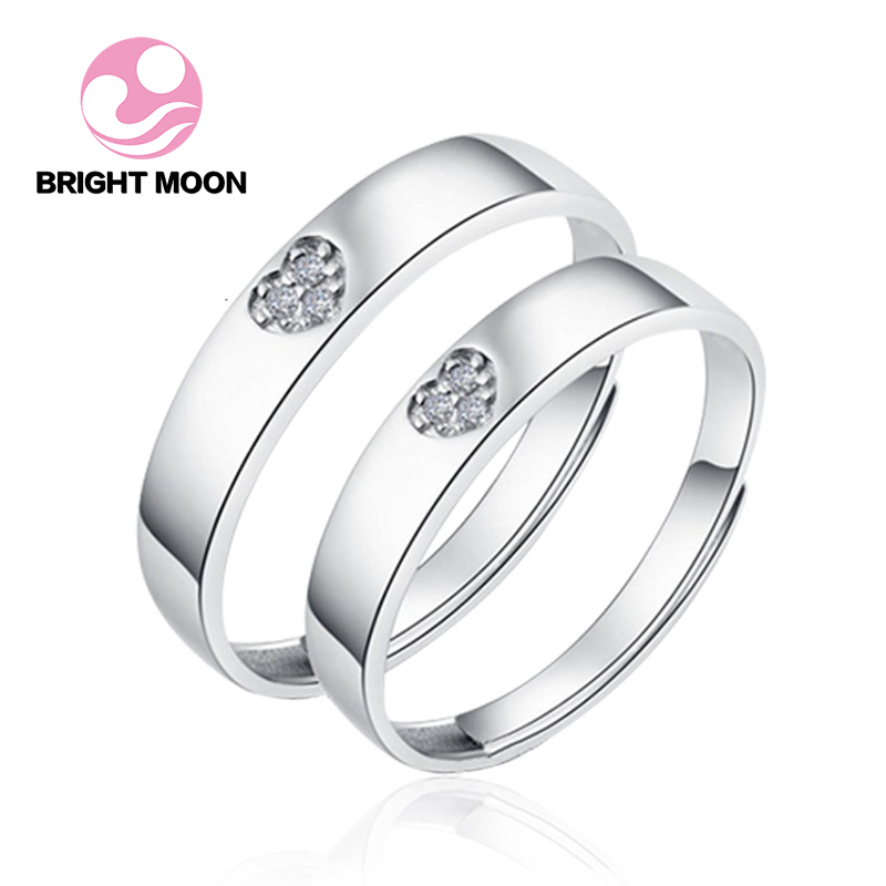 Bright Moon 925 sterling silver Engagement Ring Wedding Couple Rings Aneis Mens Jewelry Rings Silver Jewelry Ringen Anel Bague