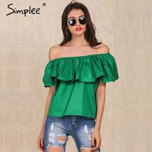 Apparel Sexy slash neck ruffles women tops tees Off shoulder beach summer style tops Women blouses shirt party tube top