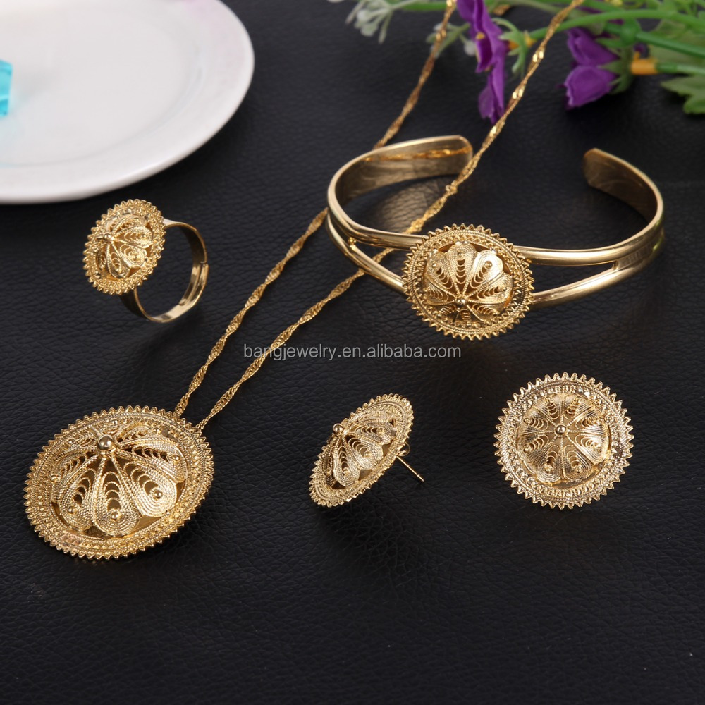 Traditional Ethiopian Wedding Jewelry Sets Joias Ouro 18k Gold Filled Jewelry African Bridal Jewelry