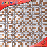 JZ-1203 Square Brown Super White Glass Mix Brown Mirror Mosaic Backsplash Subway Tile Sticker for TV Background Mural Decoration