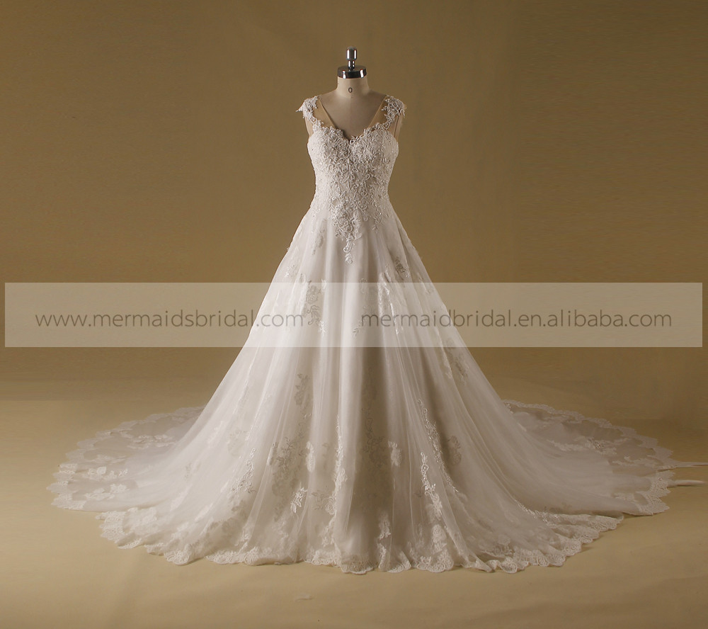 Royal V Neck Lace Applique See Through Back Long Tail Wedding Dress