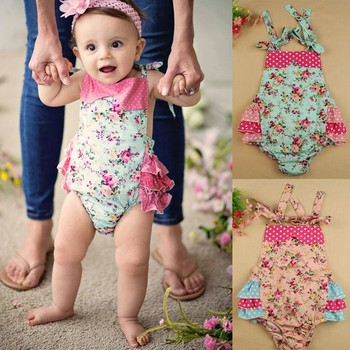 HOGIFT 2017 baby gilrs flowers rose dot baby rompers With flowers lace