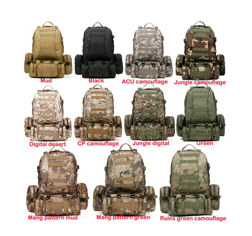 50L Molle housekeeper Tactics Backpack hik Waterproof 600D High capacity Assault Travel Military Rucksacks Backpacks Army Bag