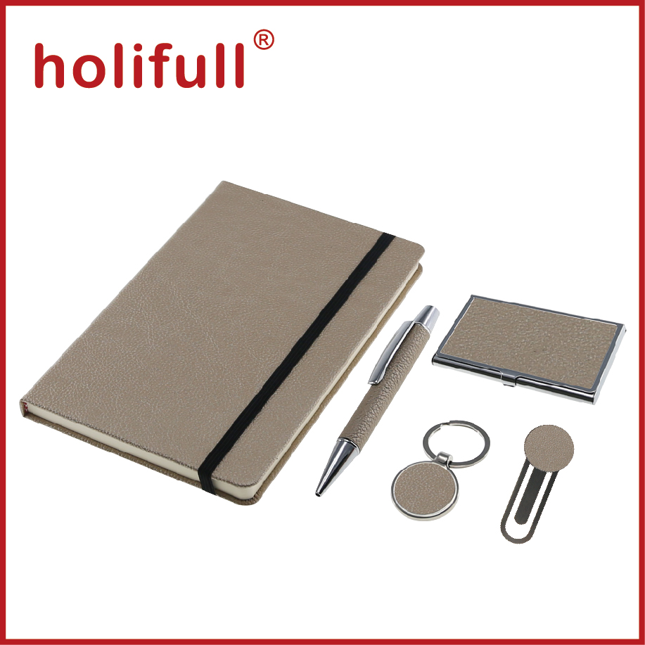 2016 plain color pu leather A5 size notebook set corporate corporate gift set