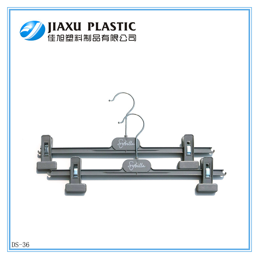 free used clothes wholesales Plastic Skirt Pant Clothes Hangers,cheap factory price,Clips Adjustable DS-36