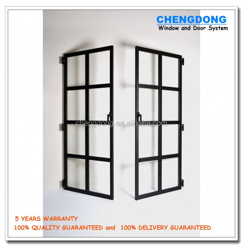 Exterior Solid Wood with Double Pane Tempered Glass Entrance Door Type French Door