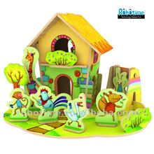 Promotional Gift DIY 3D Wooden Puzzle House Model Toy For Kids' Present