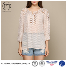 Latest Design Clip Dots 3/4 Sleeve Ladies Crochet Chiffon Tops,See Through Blouse