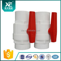 """XE"" PVC Plastic 2 PCS Ball Valves White Body With PP Handle Suppliers"