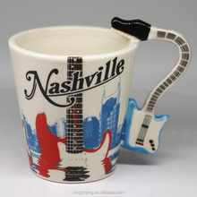 Promotional Mug 3D Unique Music Handle Guitar Mug Ceramic Coffee Mugs with Guitar Handle