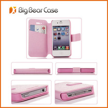 Factory leather flip for iphone 4 leather case