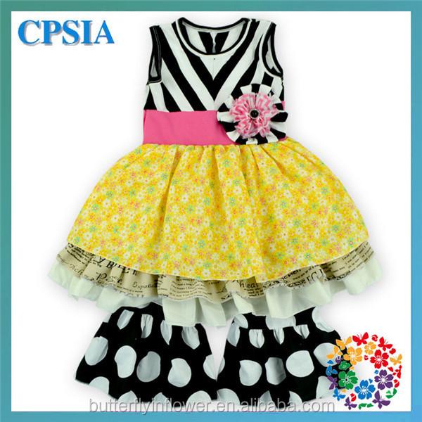 b1a6fb1e4b47 Kids Fashion Clothing Black White Chevron Top And Ruffle Pant Set ...