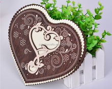 2016 Craft Creative Individual Heart-shaped Hollow Carving Wooden Wedding Invitation Card for Party, Wedding, Birthday