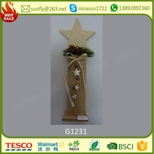 new hot sale wooden house decor items wooden star christmas wooden table decoration made in china