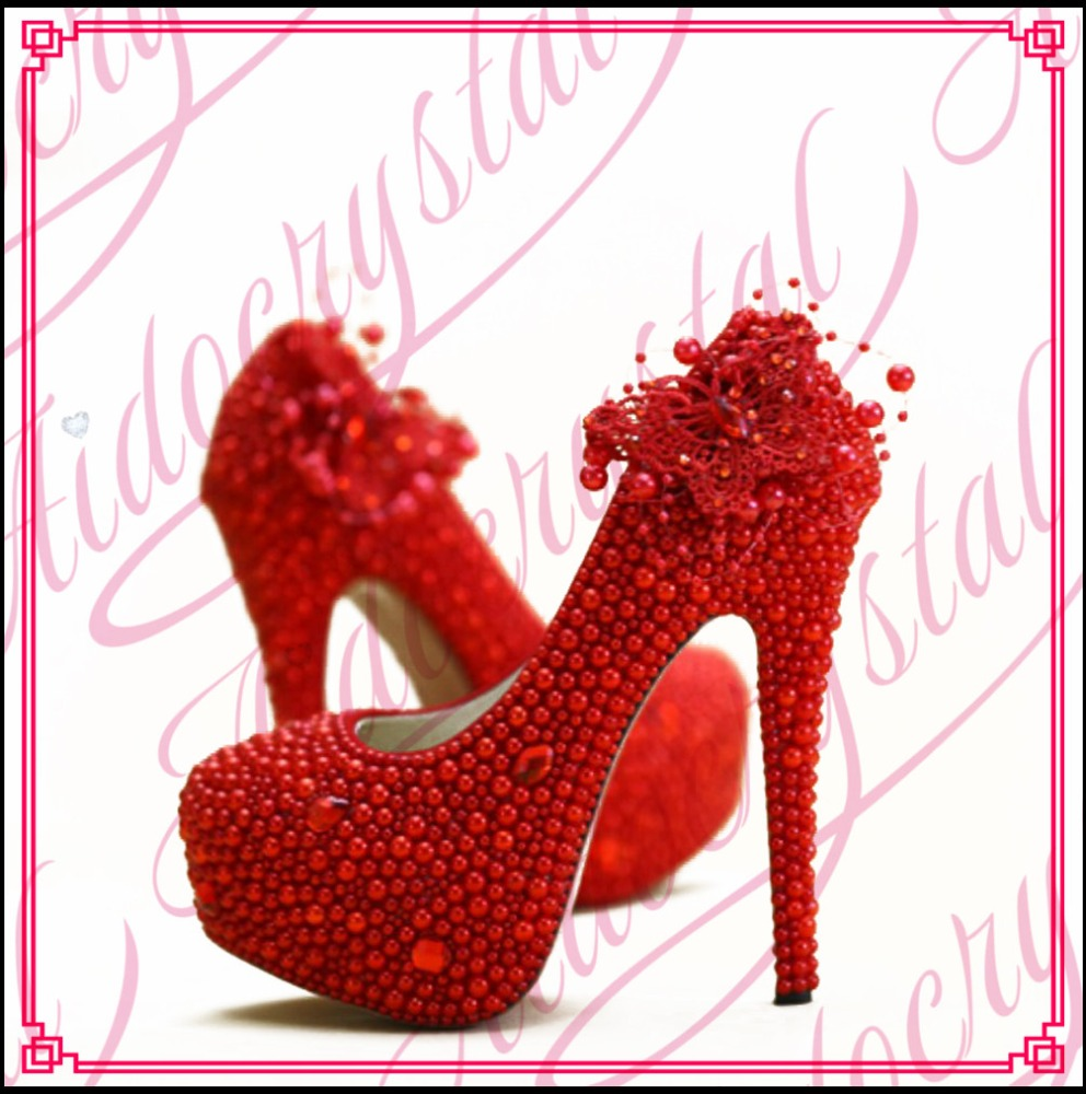 Aidocrystal Gorgeous New Design Beautiful Bridal Shoes Red Pearl 14cm High Heel Platform Wedding Party Shoes