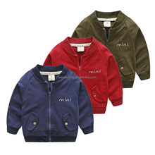 Wholesale children wear baby jacket without hood baby boys cotton sweatshirt pockets tops
