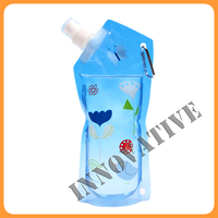 Flexible reusable water spouted stand up pouch with carabiner hook
