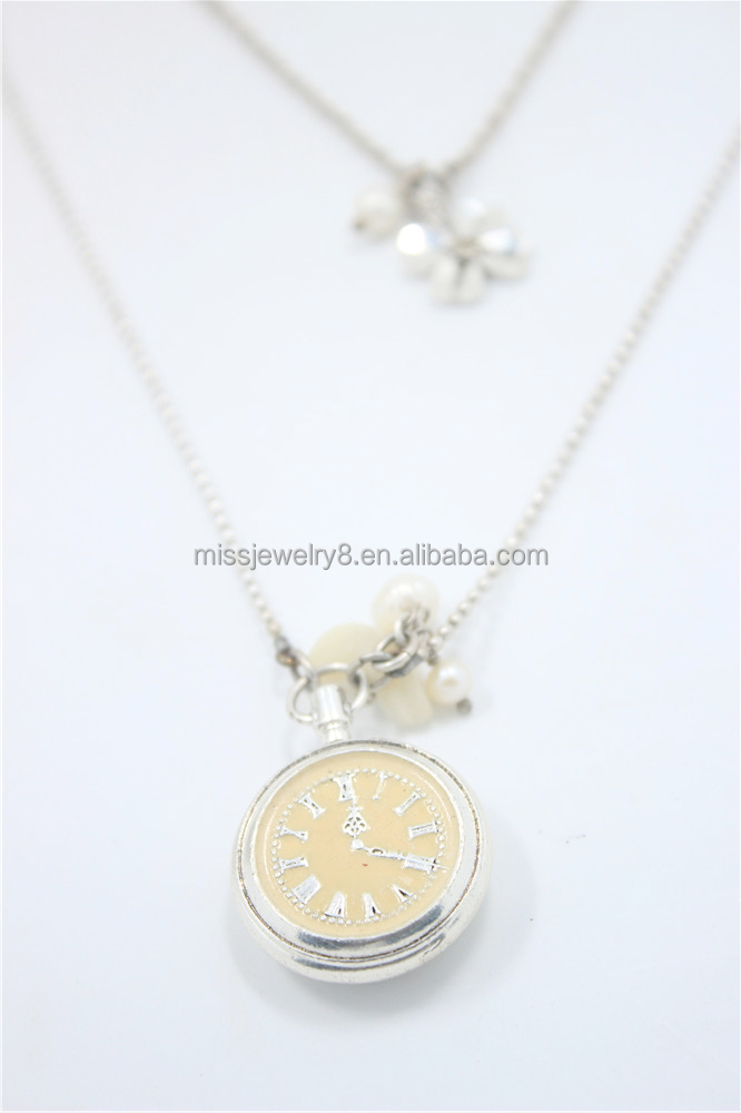 Fashion Silver Multi Layerd Ball Chain Necklace Watch Metal w/ Ivory Painting White Shell & Pearl Hanging w/ Flower Metal Neckla