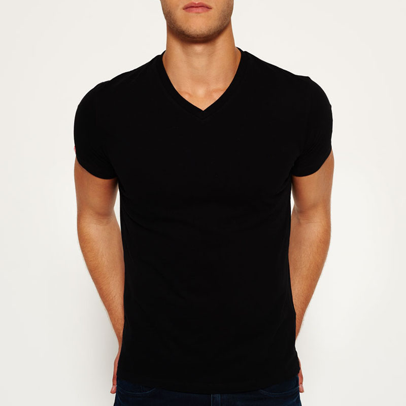 Newest design high quality wholesale 100% cotton V neck printing custom t shirt from China