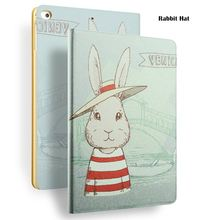 Rabbit Hat Painting Case for iPad mini, for iPad 8 inch Case with Auto Sleep/Wake, for iPad mini 1 2 3 case