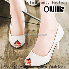 Fancy black and white middle heel pumps elegant fish mouth sandals fish mouth evening shoes for women PH3819