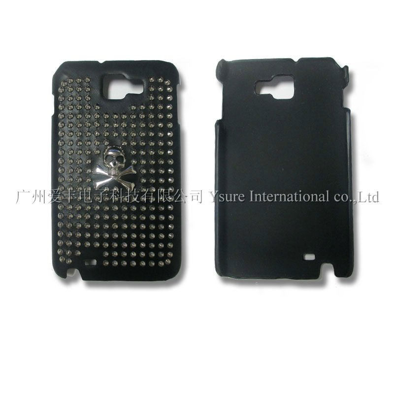 Popular Punk Spike Skull Studs Soft TPU Black Leather cover Skull Head Rivet Case for samsung galaxy note2 I9220