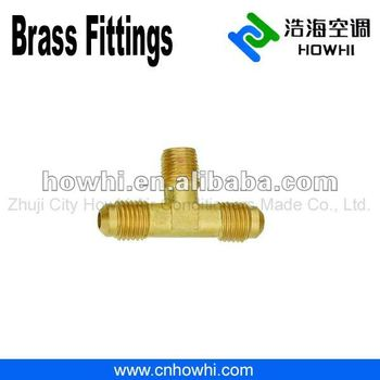 brass pipe fitting, Two Way Tee - Flare to NPT on Branch