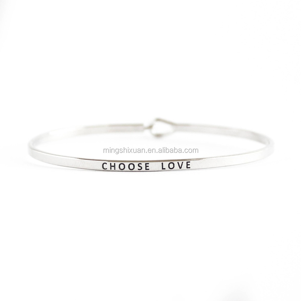 Christmas Selected Items - MSX Jewelry Stainless Steel Inspirational Custom Quote Skinny Cuff Choose Love Mantra Bracelet
