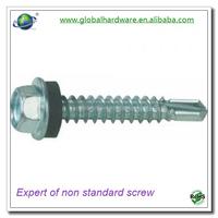 Hex washer head self drilling screw with rubber washer, made in China