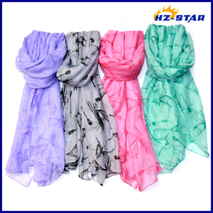 HZW-13420005 2017 Beautiful Lady Long Turkey Chiffon Polyester Shawl